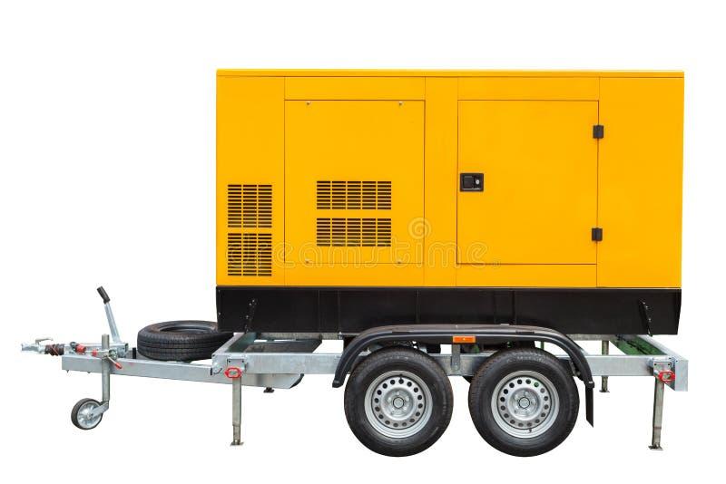 在与裁减路线的白色背景紧急电力的流动柴油发电器隔绝的 库存图片