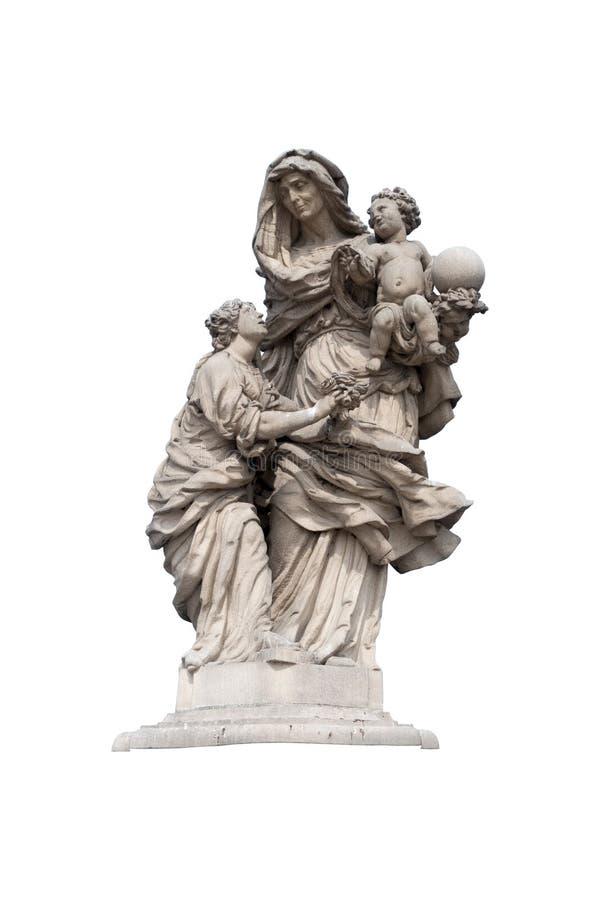 在与裁减路线的白色背景隔绝的一宗教年轻女人祈祷的雕象 免版税库存图片
