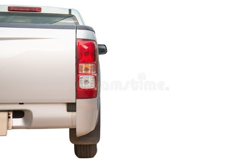 在与裁减路线的白色背景隔绝的卡车的后面看法银采撷 库存照片