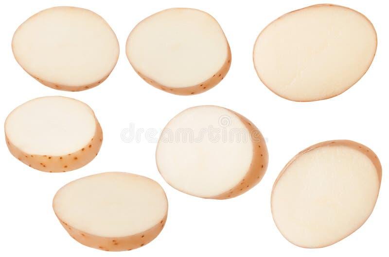 在与裁减路线的白色背景隔绝的土豆新伐切片 集合或小组土豆为成套设计分开 免版税库存照片