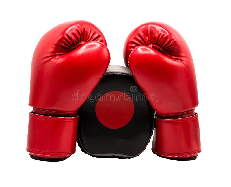 在与裁减路线的白色背景隔绝的拳击手套 库存图片