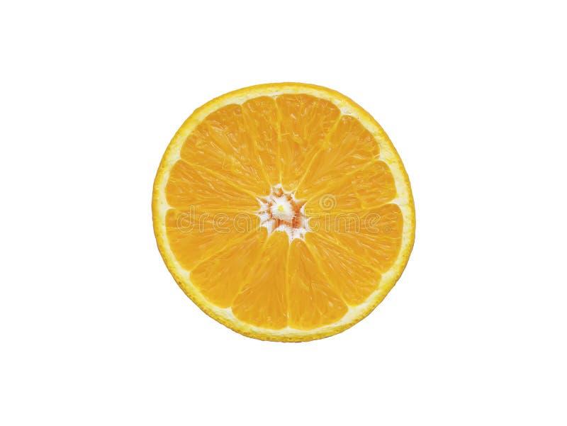 在与裁减路线的白色背景隔绝的橙色切片 免版税库存图片