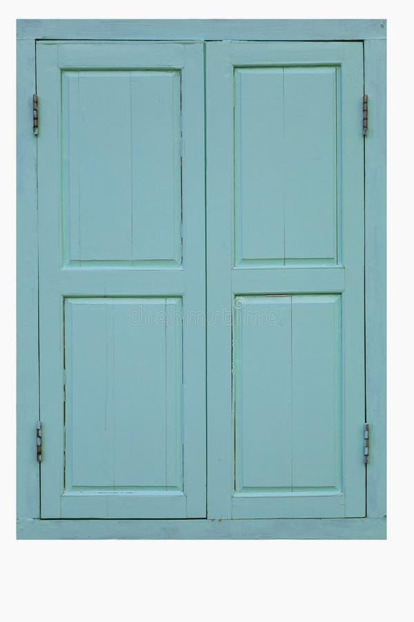在与裁减路线的白色背景隔绝的老蓝色木双窗口 免版税图库摄影