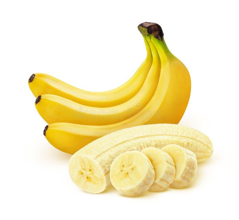 在与裁减路线的白色背景隔绝的香蕉 库存照片