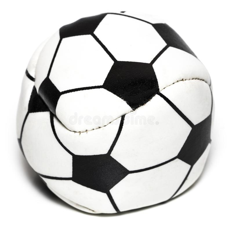在与裁减路线的白色隔绝的皮革足球 免版税库存照片