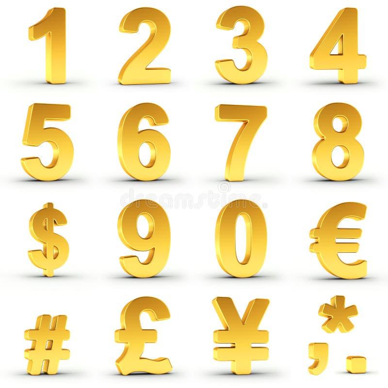在与裁减路线的金子设置的数字 库存例证
