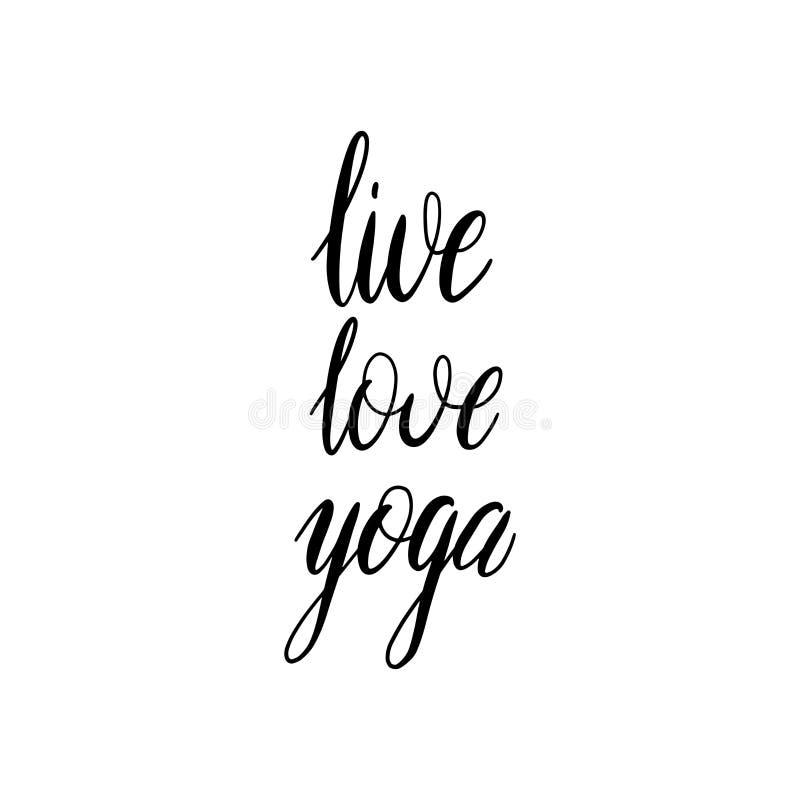在与词的白色背景隔绝的手拉的刷子字法居住爱瑜伽 E 向量例证