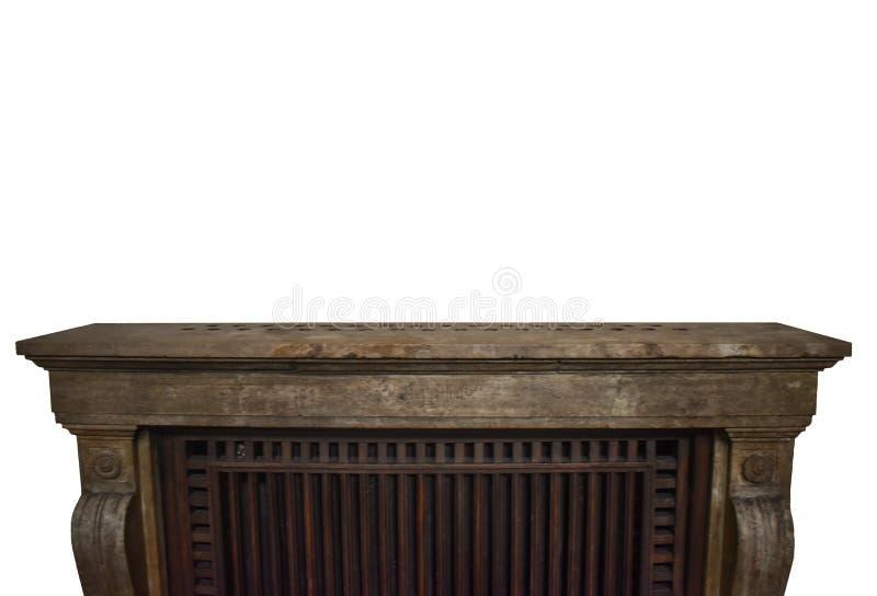 在与赠送阅本空间的白色背景隔绝的古色古香的大理石和木架子艺术品设计的 葡萄酒墙壁架子在Rocco 免版税库存照片