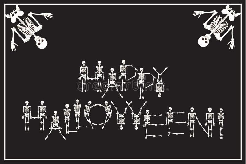 在与跳舞骨骼字体的愉快的万圣夜上写字,套le 向量例证