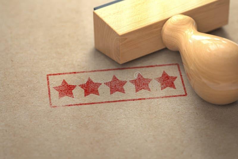 在与邮票的工艺纸打印的五个星 对估计,最佳的选择、顾客经验和优质平实概念 3d 向量例证