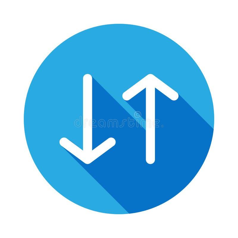在与长的阴影象的箭头上下 旅行象的元素流动概念和网apps的 详述在箭头象c上下 向量例证