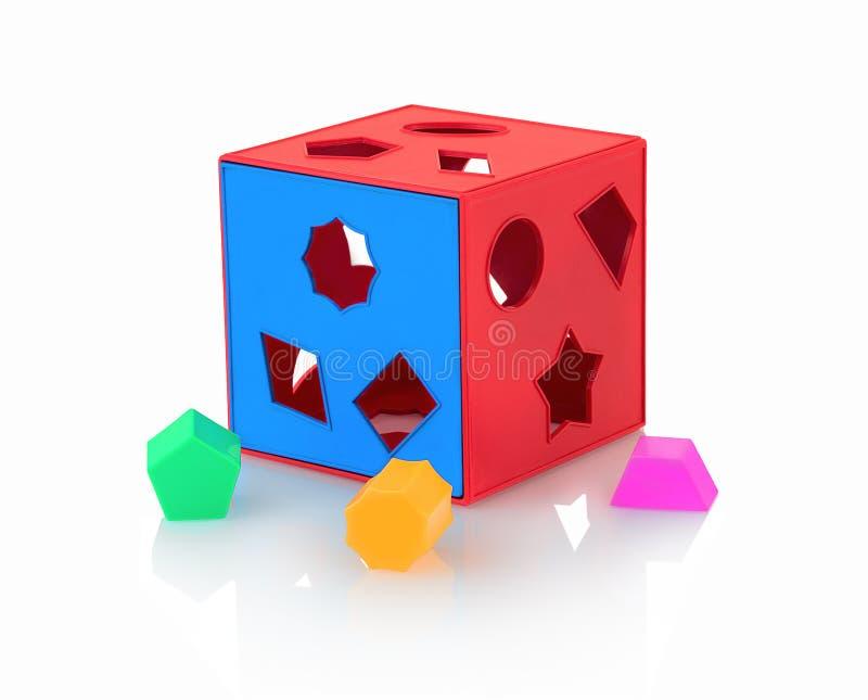 在与阴影反射的白色背景隔绝的五颜六色的儿童` s玩具形状整理者 求立方的形状整理者 免版税库存照片