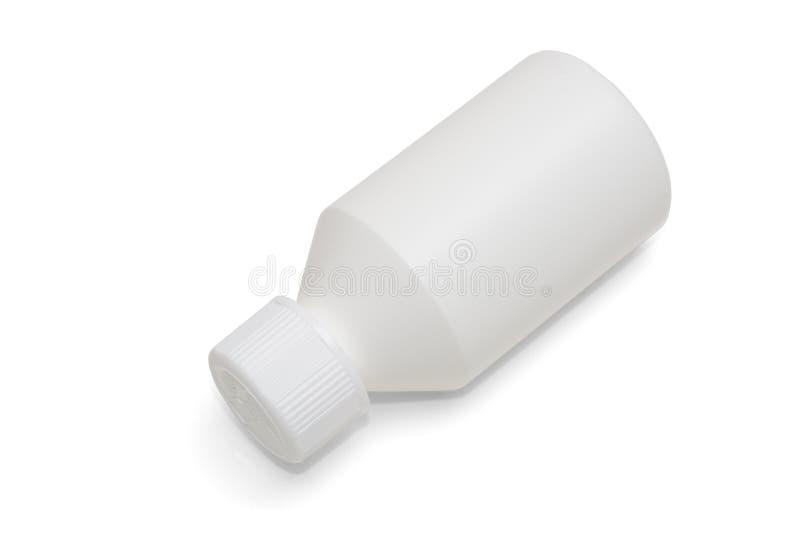在与阴影的白色背景白色隔绝的塑料小瓶 免版税库存图片