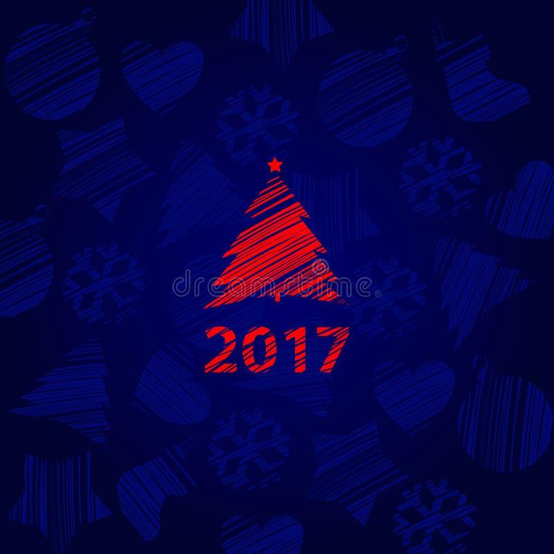 在与雪花和题字纹理的蓝色背景隔绝的冲程圣诞树红颜色的剪影  库存例证