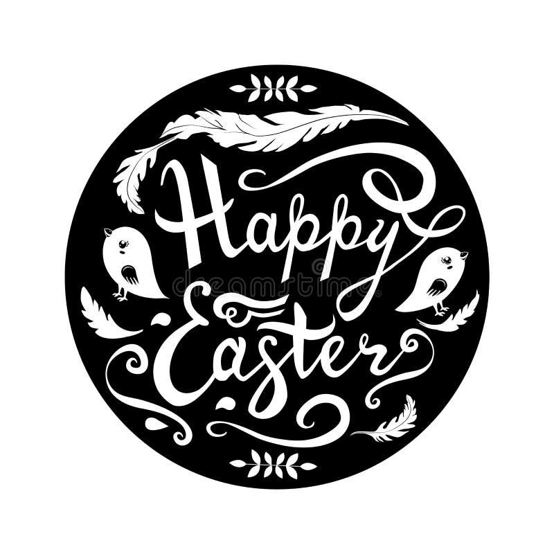 在与鸟、草本和羽毛的逗人喜爱的复活节词组上写字在白色背景隔绝的圈子 对手拉在黑板 皇族释放例证