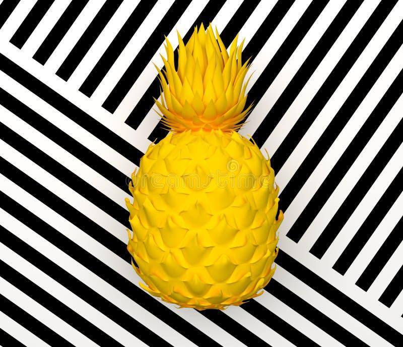 在与黑白条纹的背景隔绝的单独黄色抽象菠萝 热带异乎寻常的果子 3d翻译 向量例证