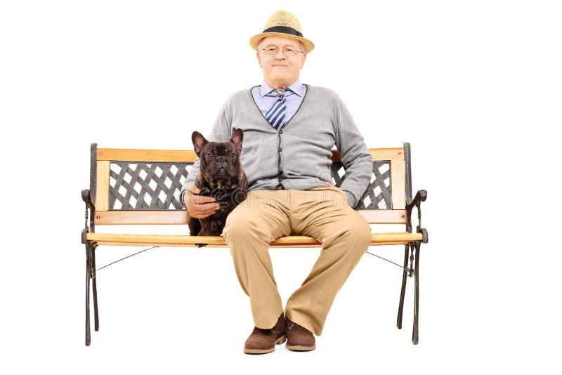 在与他的狗的一条长凳安装的资深绅士 免版税图库摄影