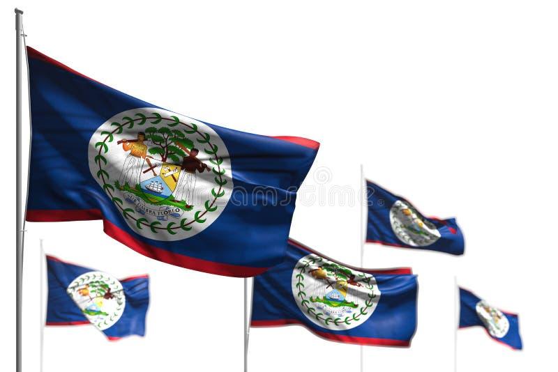 在与bokeh -所有宴餐旗子3d例证的白的例证是挥动隔绝的伯利兹美丽的五面旗子 皇族释放例证