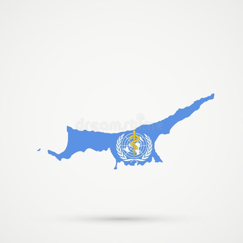 在世界卫生组织世界卫生组织旗子颜色的北赛普勒斯土耳其共和国TRNC地图,编辑可能的传染媒介 皇族释放例证