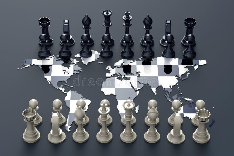 在世界地图外面的棋盘与棋戏剧 库存例证