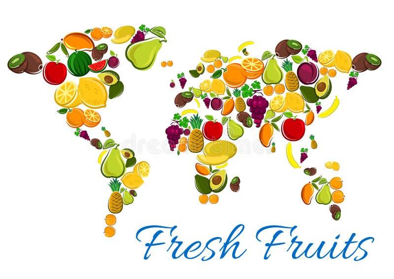 在世界地图形状的新鲜水果象 皇族释放例证