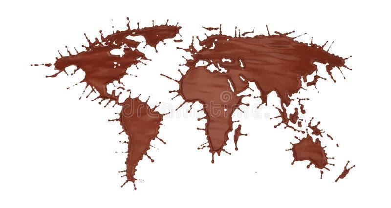 在世界地图形状的牛奶巧克力飞溅  皇族释放例证