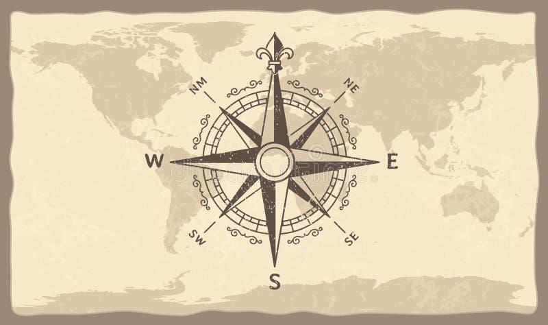 在世界地图的古色古香的指南针 葡萄酒地理历史映射与海军陆战队员指南针箭头传染媒介例证 向量例证