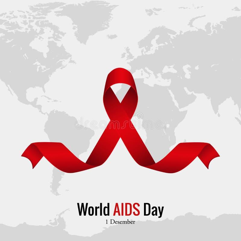 在世界地图的红色丝带 世界艾滋病日 库存例证
