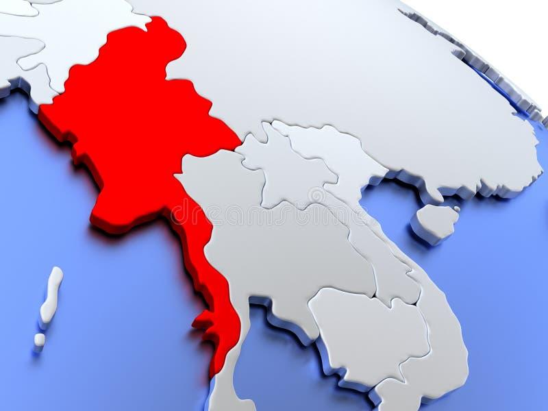 在世界地图的缅甸 皇族释放例证