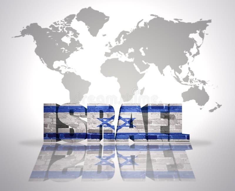 在世界地图背景的词以色列 向量例证