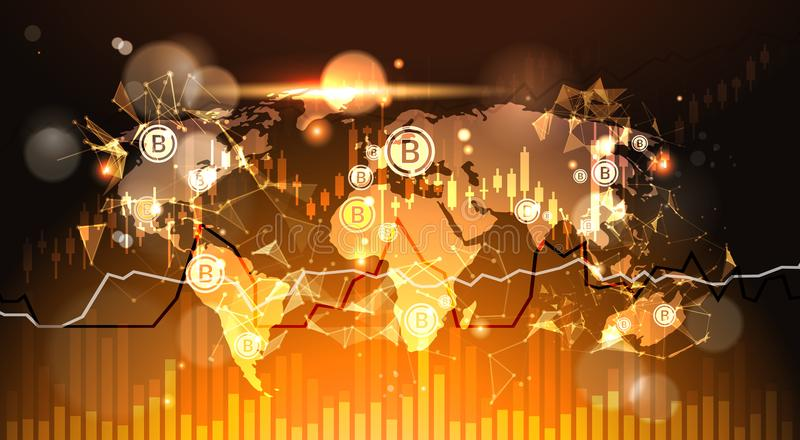 在世界地图背景Finacial的Bitcoins绘制并且注标现代隐藏货币数字式金钱概念图表 向量例证