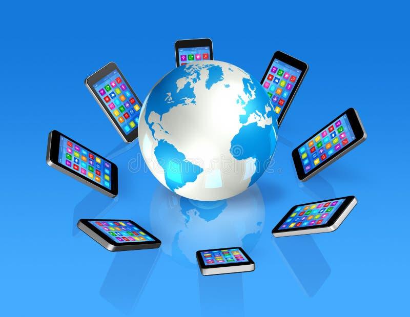 在世界地球,全球性通信附近的智能手机 皇族释放例证