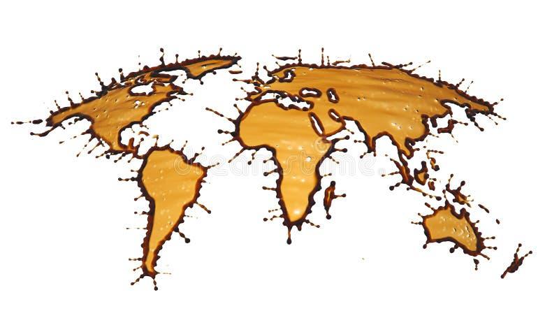 在世界的形状的可乐飞溅 皇族释放例证
