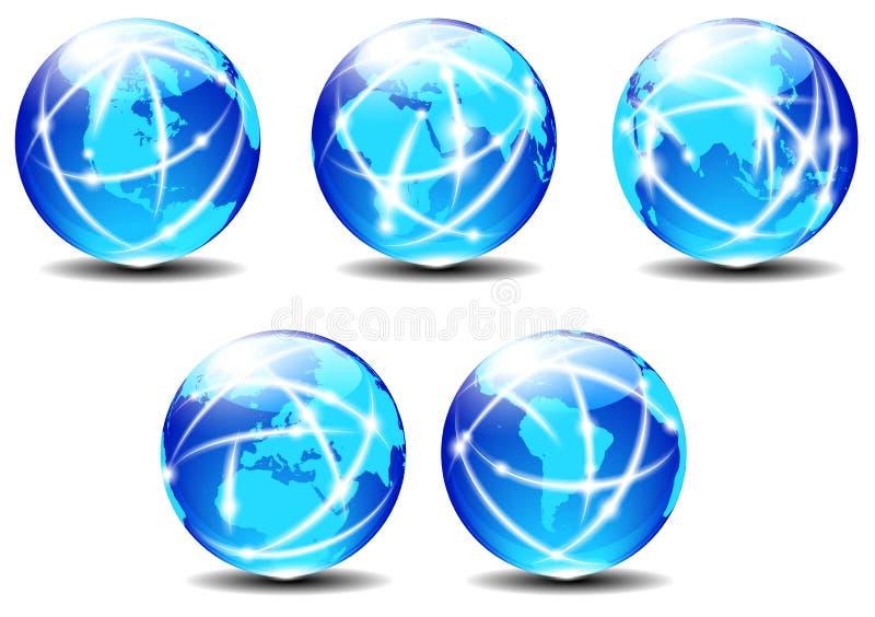 技术世界全球性通信行星数据 皇族释放例证