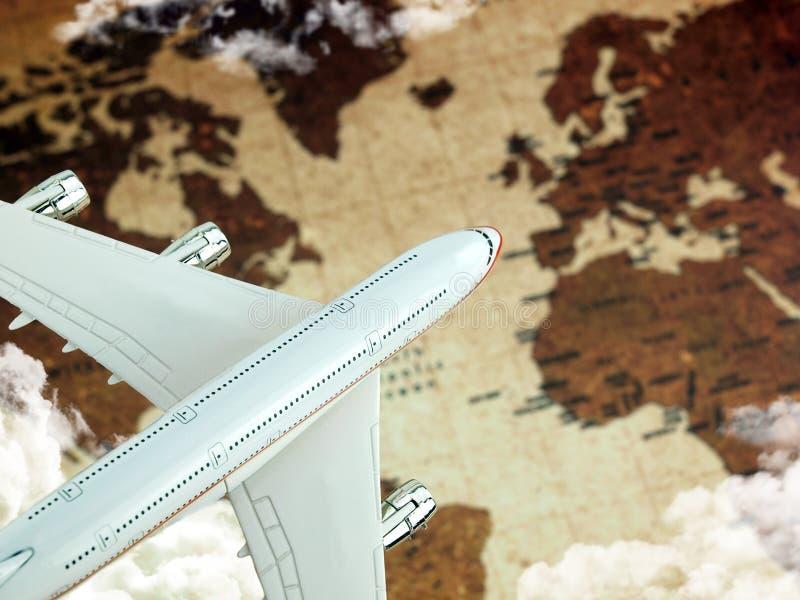 在世界的飞机映射 免版税库存图片