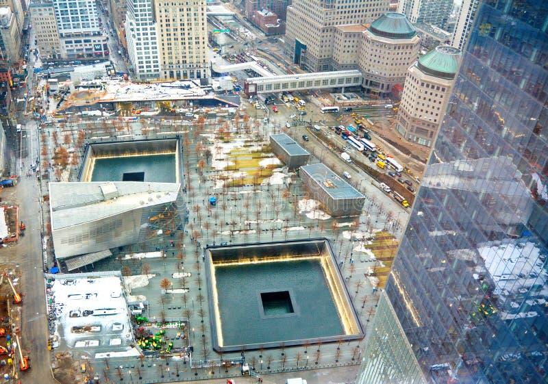 在世界贸易中心爆心投影的9/11纪念品 库存照片