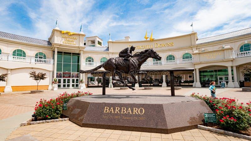 在丘吉尔Downs的Barbaro雕象在路易斯维尔-路易斯维尔 美国- 2019年6月14日 免版税库存图片