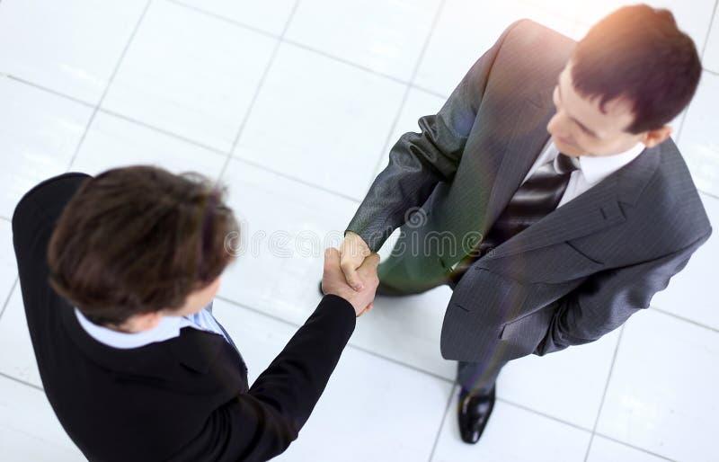 在业务会议前的商务伙伴 库存照片