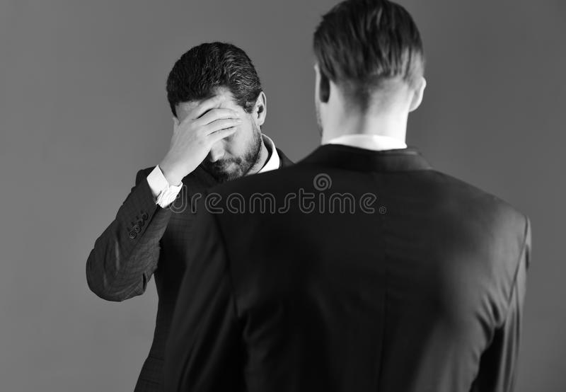 在业务关系的困难 企业交涉concep 免版税库存照片