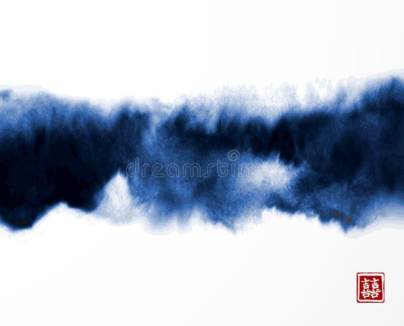在东亚样式的抽象蓝墨水洗涤绘画在白色背景 Grunge纹理 皇族释放例证
