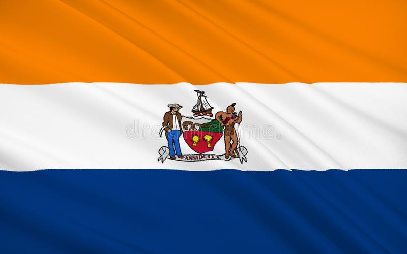在东北美国陈述阿尔巴尼旗子-一个城市 皇族释放例证