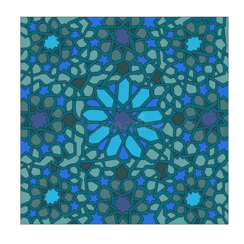 在东方样式和深颜色的抽象装饰品 向量例证