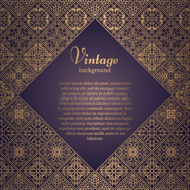 在东方样式的优质框架 马赛克背景 与地方的伊斯兰教的卡片文本的 阿拉伯,印地安语,土耳其语,巴基斯坦,汉语, 皇族释放例证