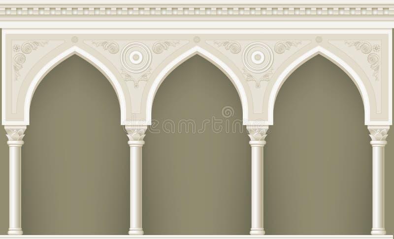 在东方样式的拱廊 库存例证