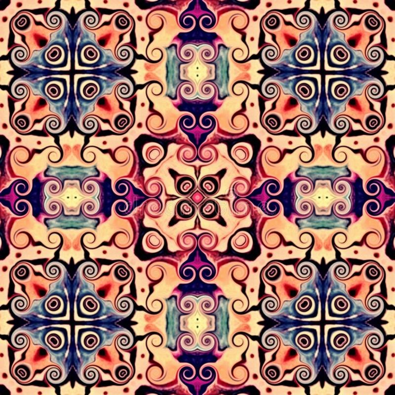 在东方样式花荧光的马赛克样式的无缝的光栅样式墙纸的,背景,挂毯的装饰 Psyc 皇族释放例证