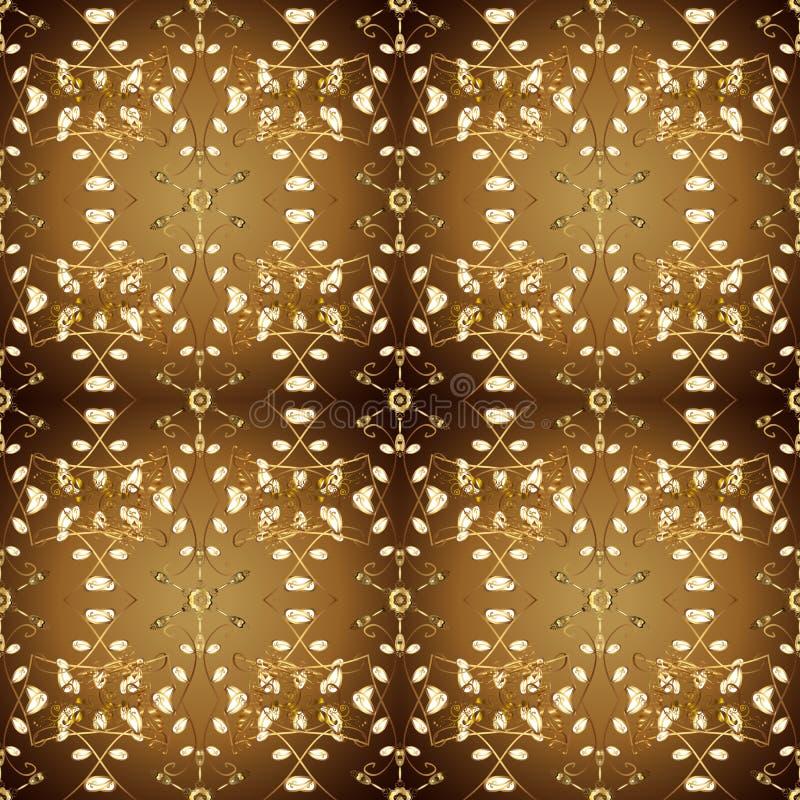 在东方样式蔓藤花纹的金黄元素 库存例证