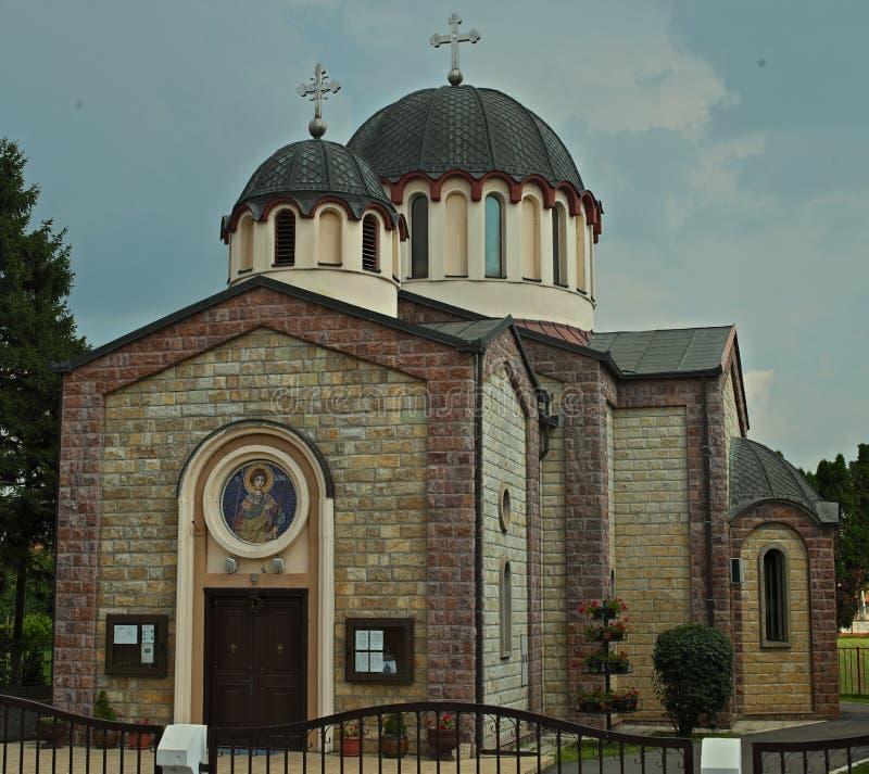 在东正教的正面图在泰梅林,塞尔维亚 免版税库存图片