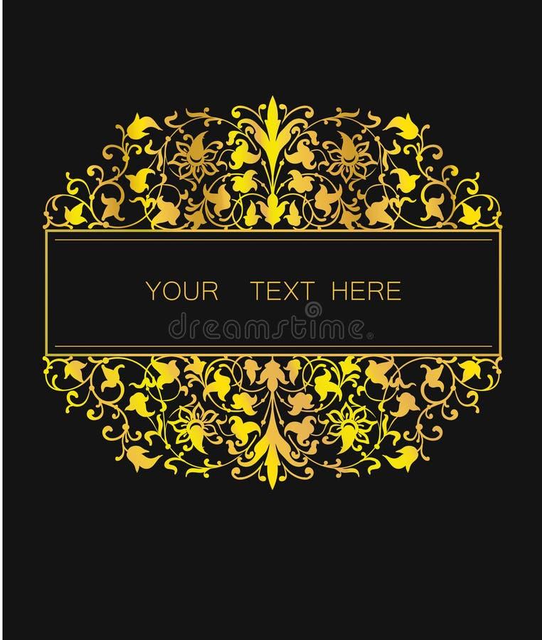 在东部样式的传染媒介花卉框架 设计的华丽元素 安置文本 金黄婚姻的邀请的线艺术装饰品 库存例证