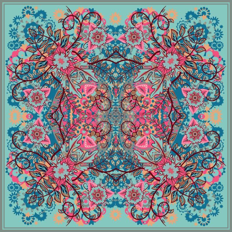 在东部样式的地道丝绸围巾或方巾方形的样式设计在织品,传染媒介例证的印刷品的 皇族释放例证
