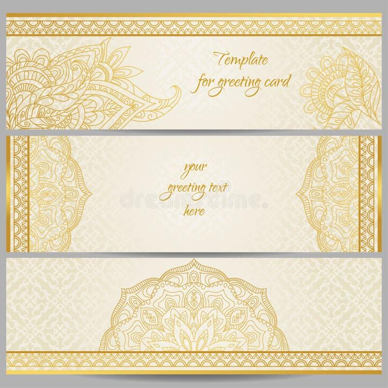 在东部样式的金黄概述装饰 皇族释放例证